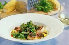 Pan-Seared Scallops with Jalapeno-Creamed Corn. Ming Tsai with Michael Mina