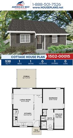 Plan details a Cottage home design with 538 sq., 1 bedroom, 1 bathroom, and an open floor plan. Mini House Plans, Guest House Plans, Small House Floor Plans, Cabin Floor Plans, Dream House Plans, Cottage House Plans, Cottage Homes, Bedroom House Plans, Small House Design