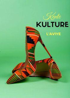 Chaussures de Kita oranges & verts africains chaussures par Laviye