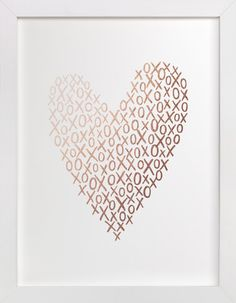 A Heart Composed Of Handdrawn Xs And Os! Hand Drawn, White, Rosegold Foil Art Prints From Minted By Independent Artist Hooray Creative Called Hugs And Kisses Heart With Printing On In White GFA. Kiss Art, Valentine's Day Greeting Cards, Foil Art, Save The Date Magnets, Stencil Painting, Foil Stamping, Valentines Diy, Valentines Design, Chalk Art