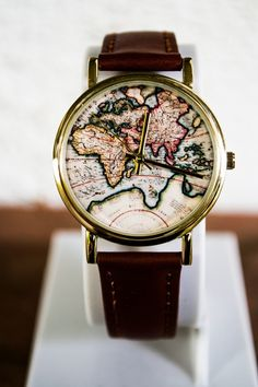 Wrist watch with a map as the background