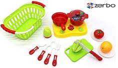 ZERBO Play Food 19 Piece Mini Set - Shop, Cut and Cook Kitchen Toy Set >>> Learn more by visiting the image link.