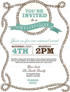 Rope nautical or country western frame invitation design template royalty-free rope nautical or country western frame invitation design template stock vector art & more images of invitation