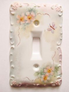 Vintage Painted Porcelain Light Switch Cover Flowers Butterfly  Motif Signed #HandPaintedbyMaryRussell