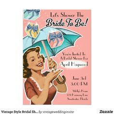 Retro bride wedding shower invitation pink for the retro bride retro bride wedding shower invitation pink for the retro bride shes got a great sense of humor and loves mad men and all of the fabulous fashio filmwisefo