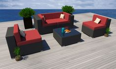 5 PC Modern Outdoor All Weather Wicker Rattan Patio Set Sectional Sofa Furniture in Home & Garden, Yard, Garden & Outdoor Living, Patio & Garden Furniture   eBay