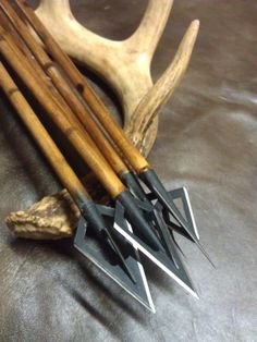 Six cedar arrows with broad heads and field tips