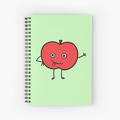 'Cute Apple Character Sticker' Spiral Notebook by CarmelaGiordano Notebook Design, Transparent Stickers, Glossier Stickers, Sell Your Art, Apple, Art Prints, Printed, Awesome, Cute
