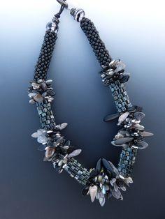 Crochet Necklace in Black and Grey. $165.00, via Etsy.