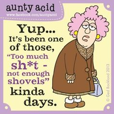 """Aunty Acid: """"Yup... It's been one of those, """"Too much sh*t, not enough shovels"""" kinda days."""" --- Can relate to that! :-D"""