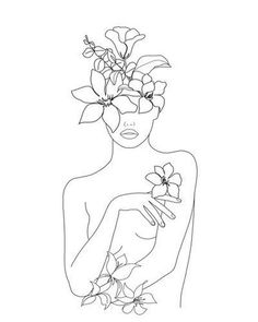 Minimal Line Art Woman with Flowers Mini Art Print by Line Drawing, Drawing Sketches, Modern Drawing, Arte Sketchbook, Minimalist Art, Minimalist Graphic Design, Easy Drawings, Doodle Art, Female Art