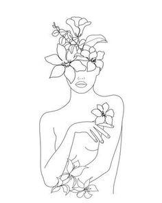 Minimal Line Art Woman with Flowers Mini Art Print by Minimalist Drawing, Minimalist Art, Modern Drawing, Art Drawings Sketches, Easy Drawings, Art Abstrait Ligne, Art Du Croquis, Outline Art, Arte Sketchbook