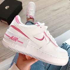 Shop Women's Nike White Pink size Various Sneakers at a discounted price at Poshmark. Description: New with box Nike Air Force shadow newest style. Souliers Nike, Nike Shoes Air Force, Aesthetic Shoes, Basket Mode, Hype Shoes, Cute Sneakers, Fresh Shoes, Adidas Nmd, Mode Outfits