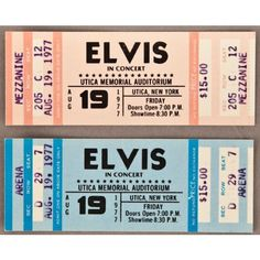 Lot Detail - Elvis Presley August 19, 1977 Full Concert Tickets (2) ❤ liked on Polyvore featuring fillers, tickets, music, paper and accessories
