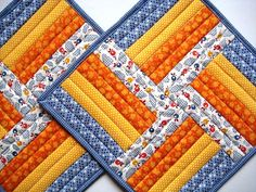 "Quilted Patchwork Mug Rugs, Placemats, Snack Mats, Sunny Blue, Yellow and Orange, 10""x10"""