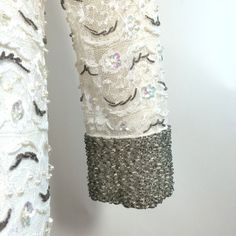 Silver Bead Trimmed White Lace Shift Dress circa 1960s Dorothea's Closet Vintage Clothing