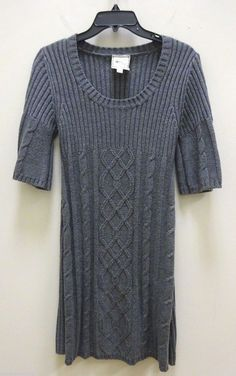Pink Rose Premium Quality Knit Short Sleeve Sweater Dress Size L Gray Knit Dress #PinkRose #SweaterDress