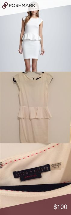 Alice + Olivia peplum dress Alice + Olivia cap sleeve peplum dress in cream. Lined. Flattering stretch material. Only worn once. Alice + Olivia Dresses