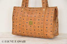 MCM Cognac Visetos PVC Shoulder Tote Bag