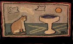 Hooked rug 1926 - My Mimi's sweet spot in the garden ; )