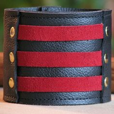 Militant Band Leader Leather/Suede Cuff Bracelet by sewlutionsbyamo on Etsy