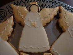 Cookies and Cakes Angel Cookies, Baby Cookies, Cute Cookies, Easter Cookies, Christmas Sugar Cookies, Christmas Treats, Christmas Angels, Winter Christmas, Cookie Decorating Icing