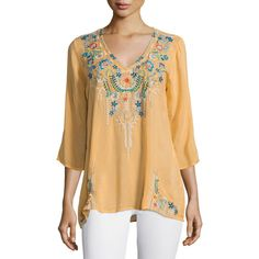 Johnny Was Collection Tropic 3/4-Sleeve Embroidery Blouse (315 CAD) ❤ liked on Polyvore featuring plus size women's fashion, plus size clothing, plus size tops, plus size blouses, white, embroidery blouse, three quarter length sleeve tops, embroidered blouse, embroidered top and v neck 3/4 sleeve tops