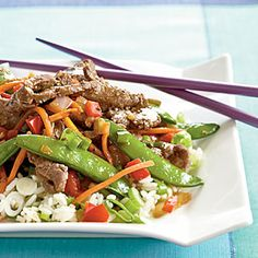 Beef and Sugar Snap Stir-Fry | MyRecipes.com - Serve a veggie-laden stir-fry dinner that's ready in minutes. The best part? It cooks in one skillet, so clean up is a snap. Serve over steamed rice with green onions.