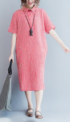 2017 summer pink grid shirt dresses plus size linen dress oversize summer linen clothing