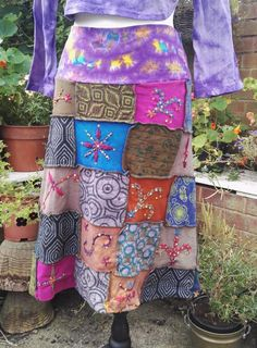 Thick cotton jersey, patchwork skirt with ethnic print fabrics, embroidery and sequins. Products are produced in Nepal and India, as well as Bali. Gringo : Fair Trade. The back is plain, in a rich purple colour. | eBay!