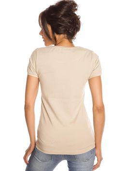 T-shirt femme T- REMEMBER NOIR et BEIGE Beige