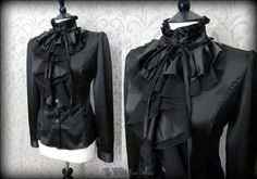 Elegant Gothic Black Satin Frilly High Neck Ruffle Blouse M 10 Dark Mistress | THE WILTED ROSE GARDEN