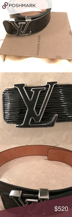 Louis Vuitton Epi Electric LV initials Belt. 95/38 LOUIS VUITTON AUTHENTIC Epi Electric LV initials Belt. The belt features a silver and black Epi leather buckle sculpted in the signature LV monogram. MPN-M9830  95/38 Made is Spain. 100% Authentic. Louis Vuitton Accessories Belts