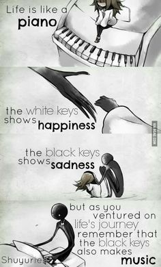 FR translation: Life is like a piano. The white keys represent the . - FR translation: Life is like a piano. The white keys represent joy. And the black keys represent sa - Sad Anime Quotes, Sad Quotes, Best Quotes, Motivational Quotes, Inspirational Quotes, Qoutes, Music Quotes Deep, Manga Quotes, Movie Quotes