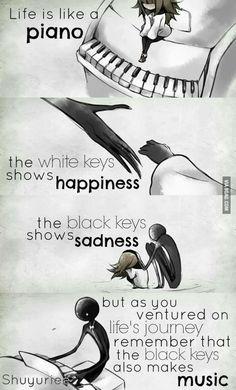 """""""A vida é como um piano, as teclas brancas mostram a felicidade, as teclas pretas mostram a tristeza, mas como você aventurou na viagem da vida, recorda que as chaves pretas fazem também a música"""""""