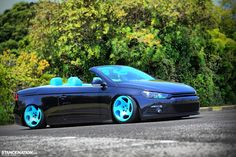 Volkswagen Eos with Scirocco front-end conversion, on turquoise blue WatercooledIND wheels. Triumph Motorcycles, Custom Motorcycles, Dirt Bike Girl, Girl Motorcycle, Motorcycle Quotes, Vw Eos, Drifting Cars, Dirtbikes, Modified Cars