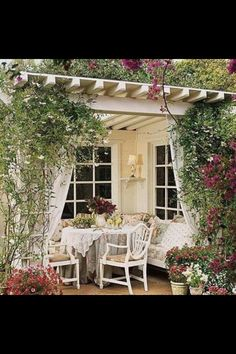#Pergola with lattice work and #outdoorcurtains. Beautiful.