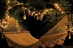 More hammock magic! LED string lights are essential. Want to do this in my living room...