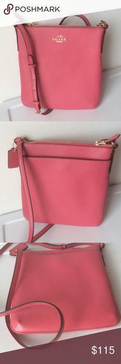 """NWT  COACH Crossgrain NS Crossbody """"Dahlia"""" color crossgrain leather with gold tone hardware. Zip top closure. Outside back full length slip pocket with magnetic closure. 44"""" adjustable strap for shoulder or crossbody wear. 8"""" L x 9"""" H x .75"""" D Coach Bags Crossbody Bags"""