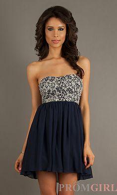 Short Strapless Lace Embellished Dress at PromGirl.com