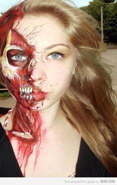 super amazing creepy makeup!   #muscle #halloween #scary #creepy #skeleton #skull #blood #halloweenmakeup #makeupinspo #makeupideas #creative #amazing