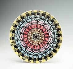 Ready To Hang Rainbow Plate Hand Painted by owlcreekceramics, $30.00
