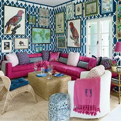 Pink and blue palm beach regency style living room