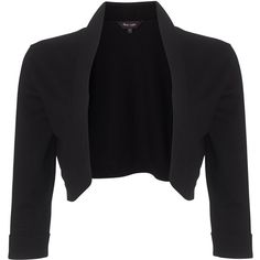 Phase Eight Shawl Collar Bolero, Black found on Polyvore featuring outerwear, jackets, bolero, cardigans, coats, open front jacket, cropped jacket, cropped bolero jacket, black jacket and 3/4 sleeve jacket