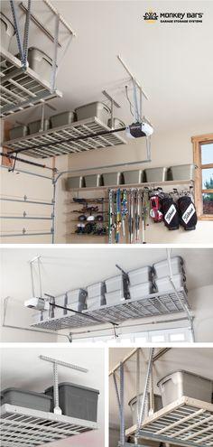 Overhead Racks in the Garage - Store bulky or long-term storage items. Garage Ceiling Storage, Garage Storage Racks, Garage Organization, Organizing Ideas, Overhead Storage Rack, Long Term Storage, Garage Ideas, Shoe Rack, Shelving