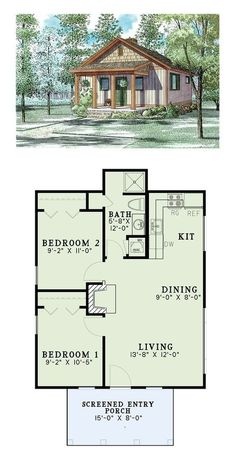 Tiny House Plan 82343 Total Living Area: 2 bedrooms and 1 bathroom. Cabin Floor Plans, Small House Plans, Square House Plans, Plan Chalet, 2 Bedroom House, Bedroom Small, Master Bedroom, Cottage Plan, Tiny House Living