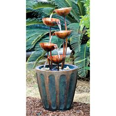 Outdoor Fountain: Copper Lotus Cascading Fountain
