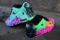 """Custom Nike Air Max 90 Funky Galaxy Colours Graffiti Airbrush Sneaker Art """"UNIKAT"""" Shoes"""