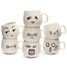 Nueva diversión llegada lindo encantador de cerámica de cerámica blanca cara linda taza taza de té del café taza de leche con empuñadura 300 ml