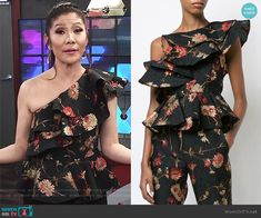 Julie's black floral print ruffle top on Big Brother Big Brother Style, Julie Chen, Prabal Gurung, Ruffle Top, One Shoulder, Floral Prints, Fashion Outfits, Clothes, Black